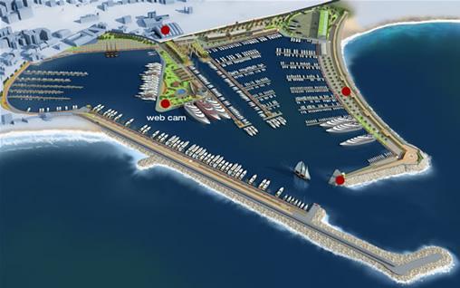 Portet turistike, tentakula çimento të shtrira në det