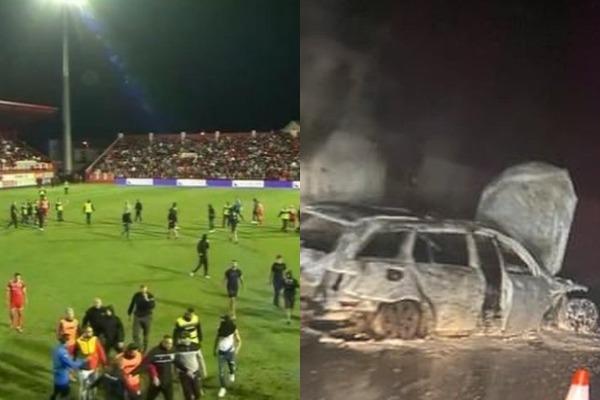 Të irrituar brenda dhe jashtë fushe, tifozët djegin makinën e arbitrave